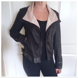 Hale Bob Moto Jacket with shearling collar
